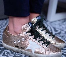 Golden Goose Deluxe Brand paillettes d'or Blanc Vert Baskets taille 36 3