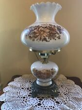 "VINTAGE HURRICANE GONE WITH THE WIND LAMP  20"" DAISY FLORAL TOP & BOTTOM LIGHTS"