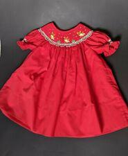 Rosalina Smocked Christmas baby girl Dress, 9month