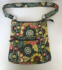 Vera Bradley Hipster Crossbody Purse Bag Green Brown Yellow Orange Colors