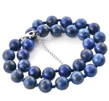 LARGE 12 mm BLUE LAPIS LAZULI BEAD Necklace knotted with 925 Silver extender