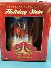 2005  Anheuser Busch  AB  Budweiser Holiday Christmas Beer Stein Clydesdales NIB