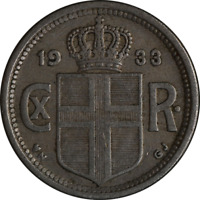 1933 - Iceland 25 Avrar KM 2.1 Nice Color and Surfaces F/VF