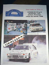 MC43 DECAL  ADD 1:43 - CITROEN BX 4 TC WAMBERGUE ANDRUET - RALLYE SUEDE 1986