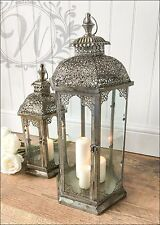 New Set of 2 Vintage Lantern Holder Candle Style Garden Antique French Moroccan