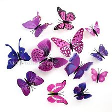Red Art Design Decal Wall Stickers Home Decor Room Decorations 3D Butterfly
