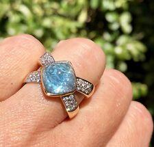 18K Yellow White Gold Checkered Sugarloaf Blue Topaz Cabochon Diamond X Ring