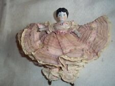 """Antique Germany China Head  5"""" Doll Hand Made Victorian Style Clothing Beautiful"""