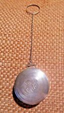 Antique Sterling Chatelaine Pill Snuff Treasure Box With Chain Finger Purse