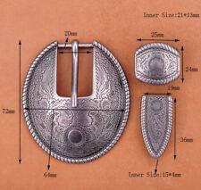 BIG Silver Flower Engraved Vintage Western Cowboy Belt Buckle Set Fit 20mm Strap