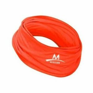 MISSION Enduracool GAITER  CORAL ORANGE NWOT Face Mask Cooling Many Ways To Wear