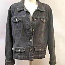 Chicos Platinum Jean Jacket 3 Classic Denim Black Washed Button Front