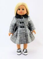 "Silver And Black Coat Fits 18"" American Girl Doll Clothes"