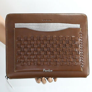 NWT Coach Rip And Repair Woven Business Tech Case Tablet Portfolio Brown 66287