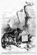 GOVERNOR TILDEN DEMOCRATIC WOLF AND GOAT TAMMANY RING SKULL BONES BY THOMAS NAST