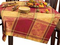 Multi Color Jacquard Design Holiday Thanksgiving Tablecloth and Napkins (CHOOSE)