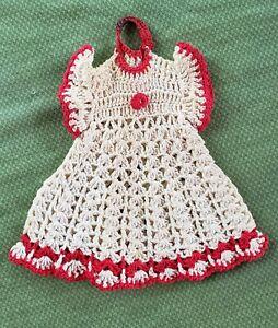"Vintage Hand Crochet Hang Red White Party Dress Pot Holder Doily! 6"" Farmhouse"