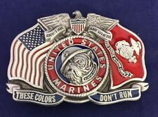 """Vintage United States US MARINE CORPS BELT BUCKLE USMC """"These Colors Don't Run"""""""