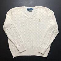Mens Vintage Ralph Lauren Cable Knit Jumper Large Cream V Neck 100% Silk