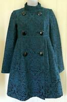 NANETTE LEPORE WOMENS DOUBLE BREASTED BLUE PASLEY INSULATED COAT - SIZE 0