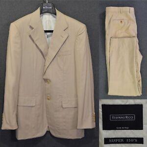 Men's STEFANO RICCI Suit 48IT 38US/UK Beige Striped Cashmere & Wool Super 150's