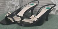 IMPO Black Leather Slingback Size 8 Med Viva 102 Shoes with flower NEW