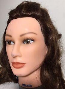 DATELINE Hair Mannequin 100% Human Hair 100% Hand Implanted Melissa Long Hair