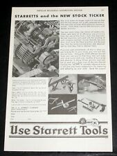 1931 OLD MAGAZINE PRINT AD, STARRETT TOOLS, STARRETTS AND THE NEW STOCK TICKER!