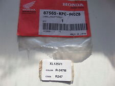 Original Autocollant De Couleur code label, Sticker, Color code HONDA XL 125 v1