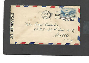 1942 CENSORED 15c AIRMAIL CRISTOBAL,CZ TO SEATTLE,WASH COVER