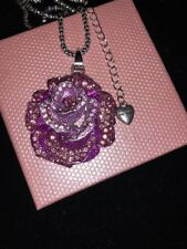 Betsey Johnson Necklace Pink Purple ROSE Flower OMBRE Crystals Silver Gift Box
