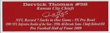 Derrick Thomas Autograph Nameplate Kansas City Chiefs Jersey  Football Helmet