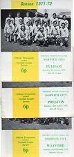 3 PROGRAMMES NORWICH V WATFORD FULHAM PRESTON DIV 2 SEASON 71/72