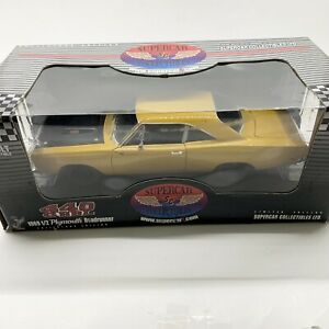 Supercar Collectibles Yello 1969 1/2 Plymouth Roadrunner 440 6BBL 1:18 Scale NIB