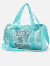 JUSTICE Girl's Let's Be Mermads Duffel Bag Mint Aqua Silver Plush NWT