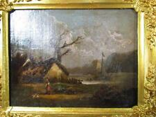 ANTIQUE 1848 CHARLES LEICKERT LANDSCAPE PAINTING, BEGIUM,HOLLAND,GERMAN ARTIST