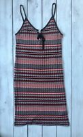 Topshop Red Navy Blue Stripe Strappy Lace Up Detail Mini Dress 16 - B3