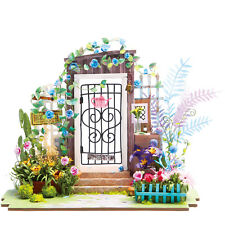 Diy Wooden Garden Dollhouse Alice in Wonderland Fairy Miniature Model Kits Toy