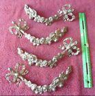 Lot of 4 Solid Cast Brass Bow Elegant Curtain Tiebacks Hook Rose Flowers Vintage