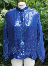 Stenay Royal Blue Sequin and Beaded Silk Womens Jacket size L Bomber Party