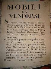 1824  MOBILI DA VENDERSI     ASTA PUBBLICA MILANO VIA FATEBENEFRATELLI