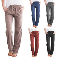 Fashion Womens Pants Wide Leg High Waist Drawstring Casual Long Trousers