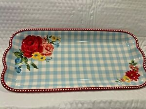 PIONEER WOMAN SWEET ROSE DESIGN 14 INCH STONEWARE PLATTER SERVING TRAY CHECKED