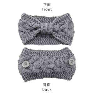 Women Headbands with Buttons Winter Wool Knit Warm Headband Elastic Hair Bands