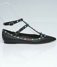 ausm VALENTINO GARAVANI ROCKSTUD CAGED FLATS PEBBLED LEATHER