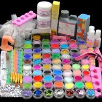 78 Acrylic Powders Nail Art Set Acrylic Liquid Tips Brush Glue Dust Kits-US Post