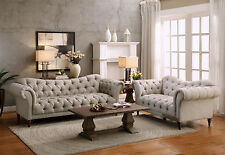 ROUSSEAU Traditional Living Room Taupe Tufted Microfiber Sofa Couch Loveseat Set