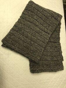 "Hand Knit Wool Throw Afghan - Heather Grey - Unused Handmade 48"" x 54"""