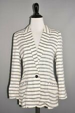 ISABELLA SINCLAIR ANTHROPOLOGIE $128 Striped Mori Cotton Blazer Medium