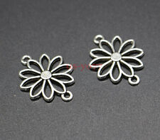 20 Daisy Flower Connectors Charms Floral Charms Antique Silver Tone 19x25 0198